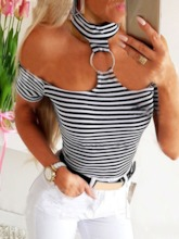 Sexy Stripe Standard Short Sleeve Slim Women's T-Shirt