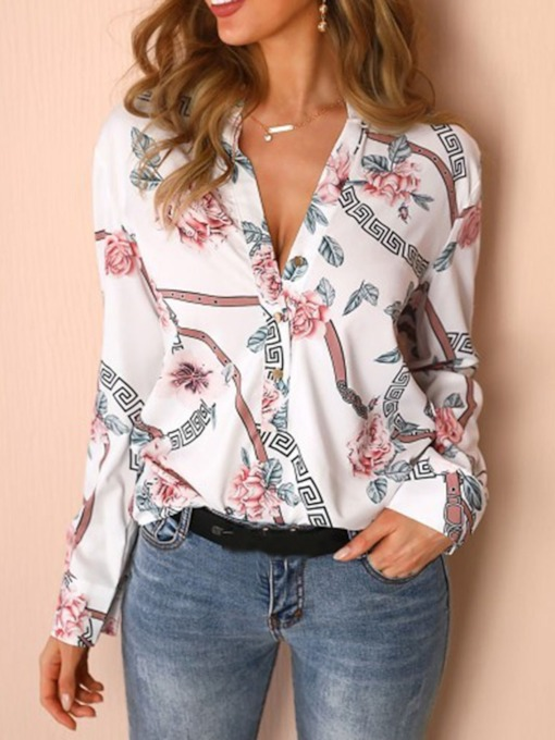 Casual Plant Print Long Sleeve Women's Blouse