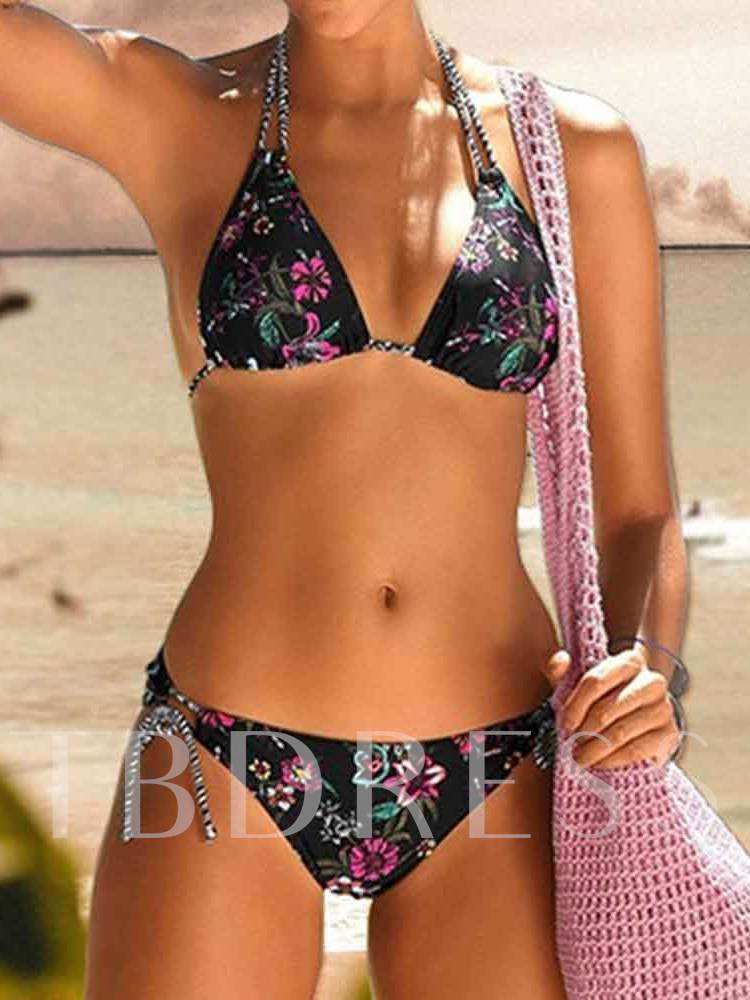 Floral Sexy Tankini Set Lace-Up Women's Swimwear