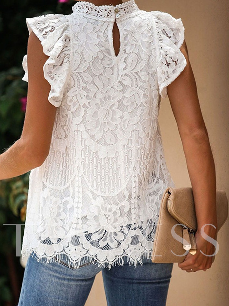 Loose Lace Polyester Mid-Length Women's Tank Top