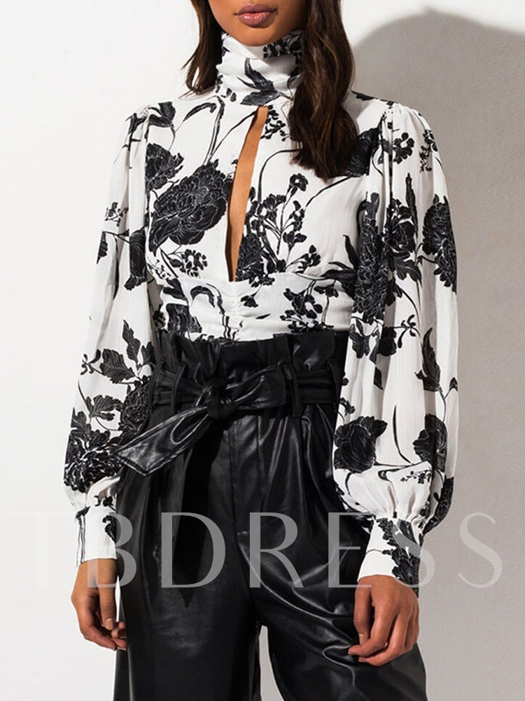 Floral Casual Print Long Sleeves Women's Blouse