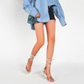 Heel Covering Lace-Up Toe Ring Stiletto Heel Color Block Sandals