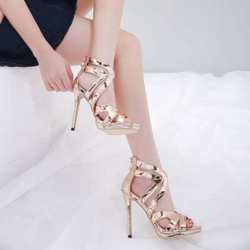Heel Covering Zipper Peep Toe Stiletto Heel Platform Sandals