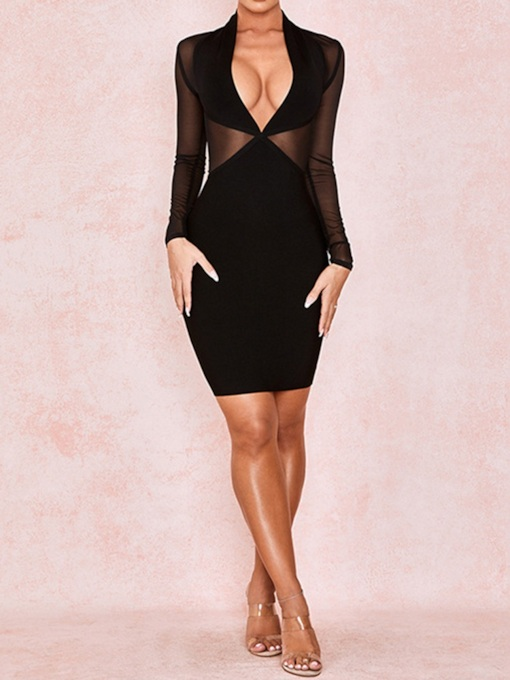 V-Neck Above Knee Long Sleeve Mesh Sexy See-Through Women's Dress
