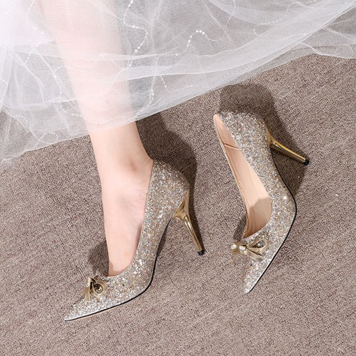 Pointed Toe Thread Slip-On Stiletto Heel Low-Cut Upper Thin Shoes