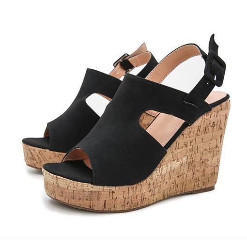 Open Toe Buckle Wedge Heel Western Sandals