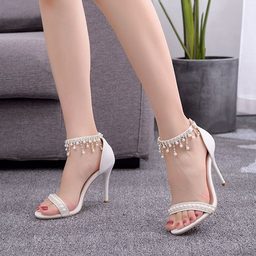 Line-Style Buckle Open Toe Heel Covering Wedding Sandals