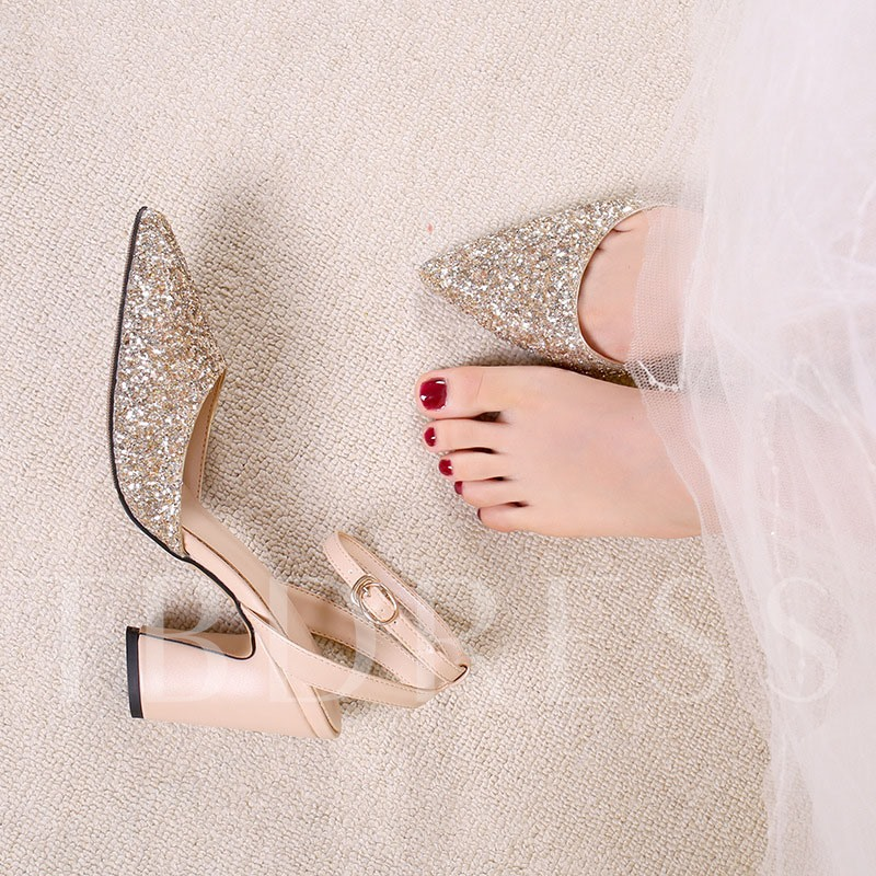 Line-Style Buckle Pointed Toe Thread Sandals