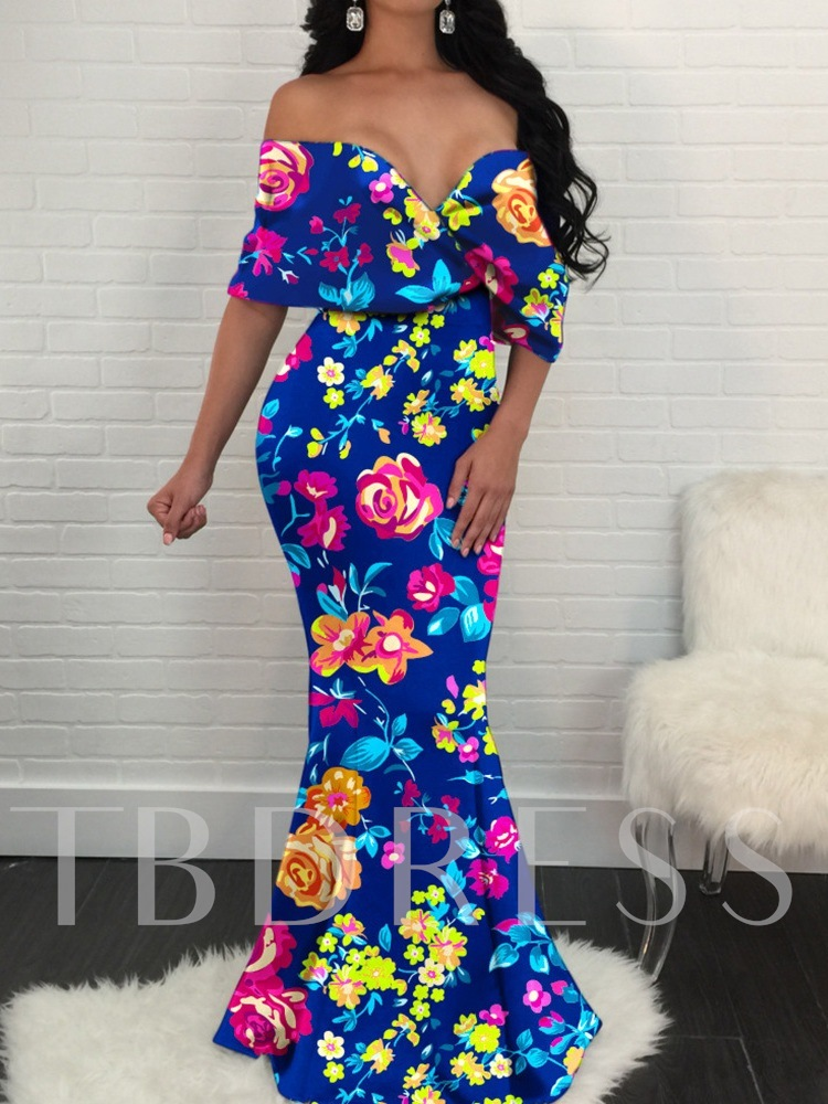 Off Shoulder Floral Print Elegant Floor-Length Pullover Women's Dress