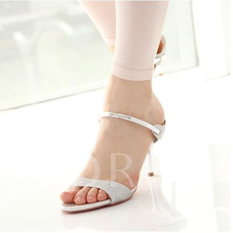 Slip-On Flip Flop Stiletto Heel Thread Rubber Slippers