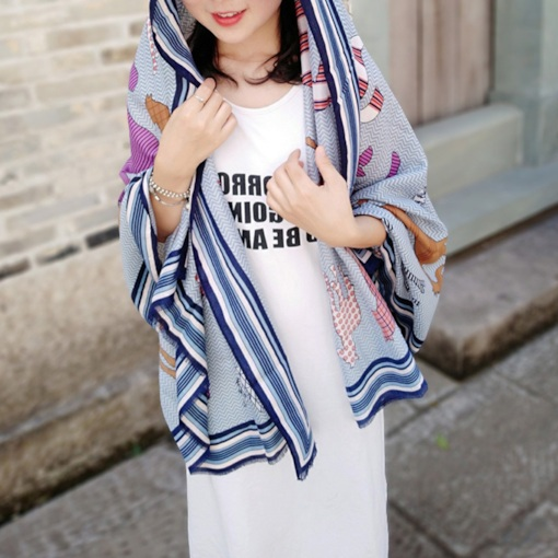 Print Shawl Cotton Cartoon Scarves