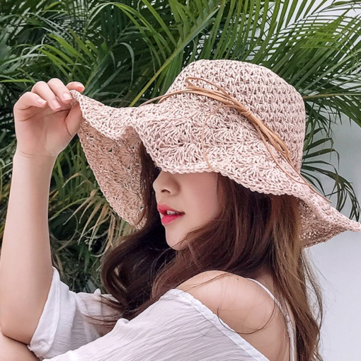 Straw Hat Straw Plaited Article Hemming Plain Hats