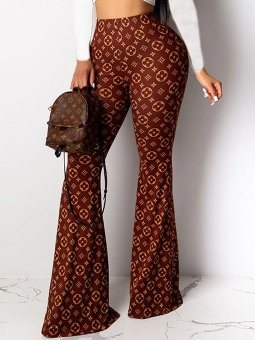 Slim Print Bellbottoms Women's Casual Pants