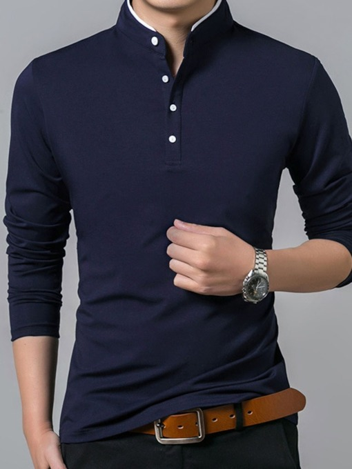 Casual Stand Collar Men's Polo Shirt