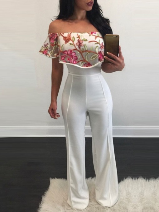 Western Floral Full Length Embroidery Straight Women's Jumpsuit