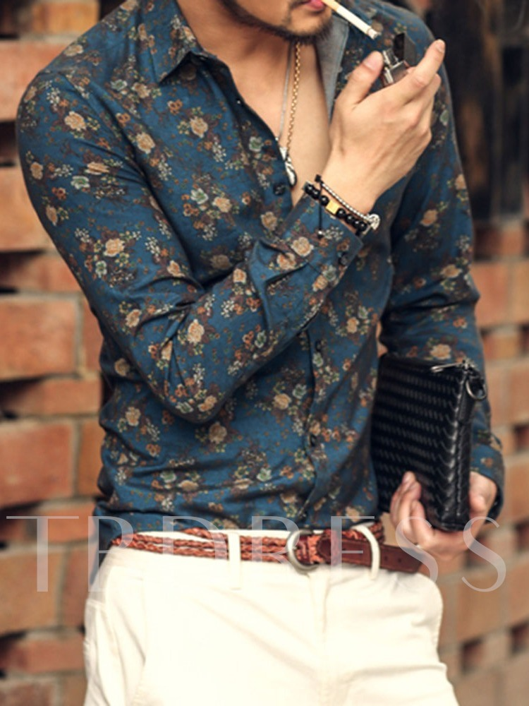 Print Lapel Casual Floral Single-Breasted Men's Shirt