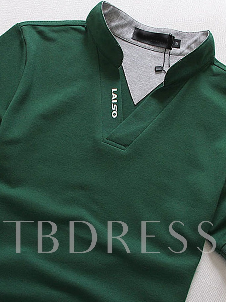 Casual Letter Stand Collar Print Men's Polo Shirt