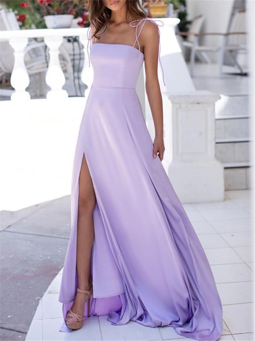 A-Line Spaghetti Straps Floor-Length Evening Dress 2020