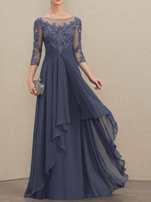 Vintage Tiered Sleeveless A-Line Scoop Floor-Length Evening Dress 2021