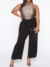 Leopard Full Length Casual Patchwork Slim Women's Jumpsuit