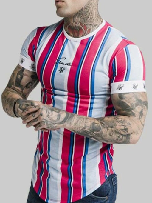 Casual Stripe Print Round Neck Short Sleeve Men's T-shirt