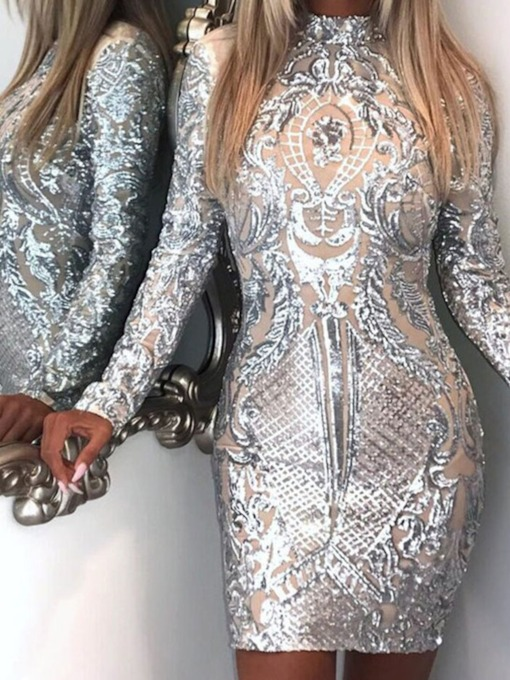 Sequins Long Sleeve Above Knee Stand Collar Mid Waist Women's Dress