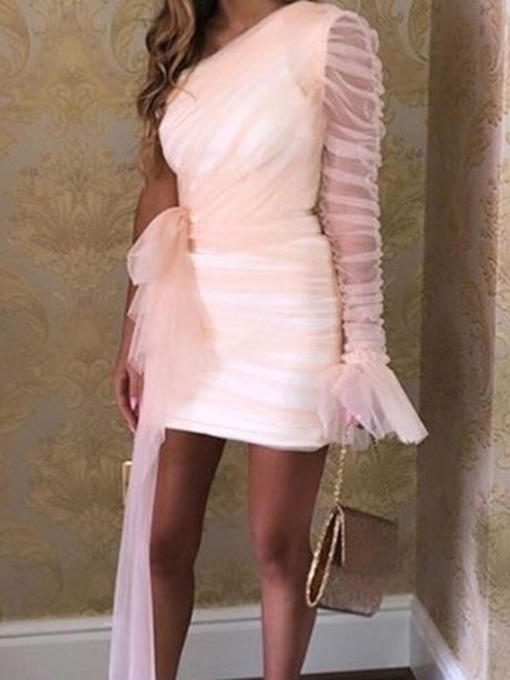 Party/Cocktail Above Knee Oblique Collar Bowknot Long Sleeve Bodycon Women's Dress