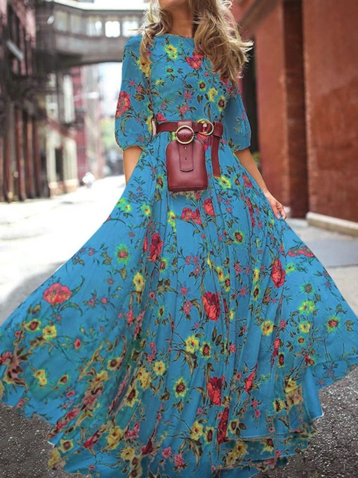 Round Neck Floral Print Floor-Length Travel Look Women's Dress