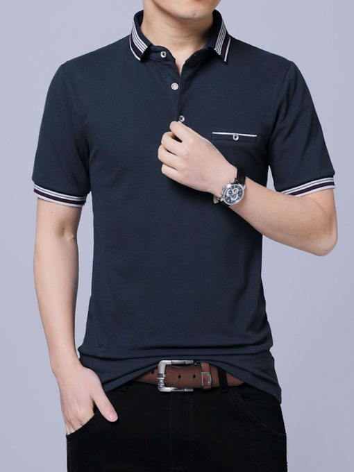 Polo Neck Stripe Casual Summer Men's Polo Shirt