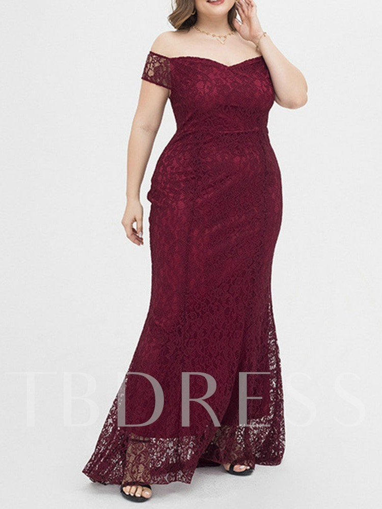Plus Size Off Shoulder Short Sleeve Lace Floor-Length Pullover Women's Dress