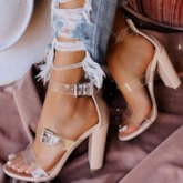 Line-Style Buckle Heel Covering Open Toe Chunky Heel Casual Sandals