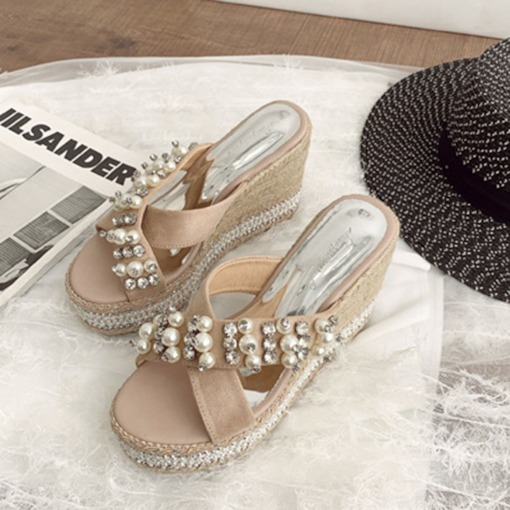 Wedge Heel Cross Platform Slip-On Summer Slippers