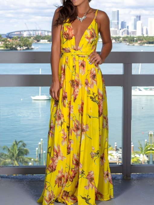 Sleeveless V-Neck Floor-Length Print Backless Women's Dress