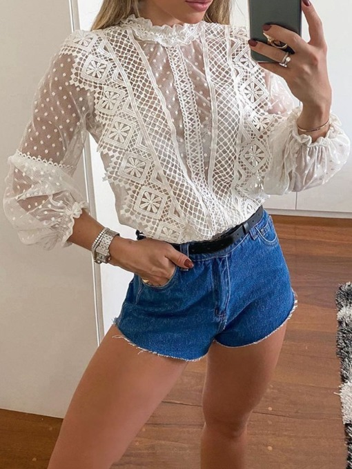 Casual Lace Stand Collar Standard Date Night/Going Out Women's Blouse
