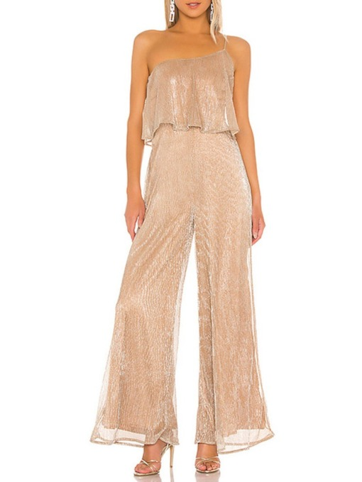 Plain Casual Asymmetric Full Length Loose Women's Jumpsuit