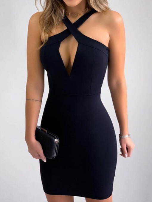 Plain Above Knee Sleeveless Party/Cocktail Sexy Women's Dress