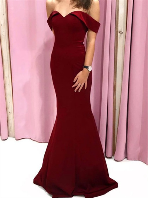 Off-The-Shoulder Trumpet Floor-Length Formal Evening Dress 2020