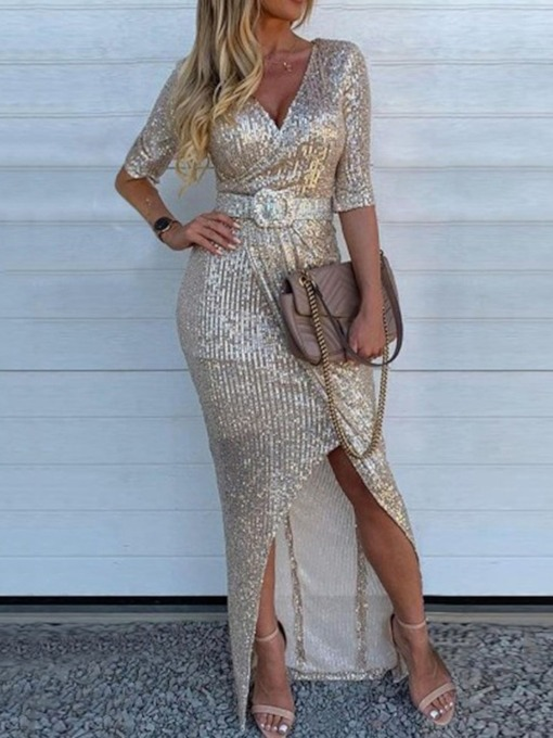 Sequins Floor-Length Three-Quarter Sleeve V-Neck Bodycon Women's Dress