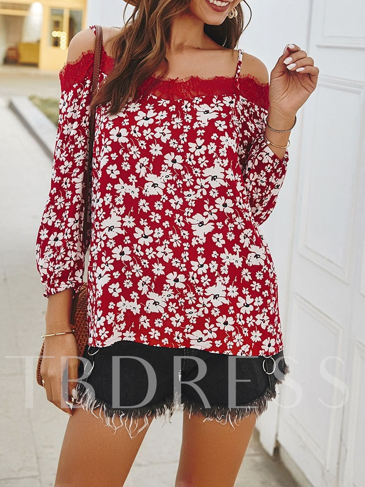 Off Shoulder Standard Casual Floral Women's Blouse