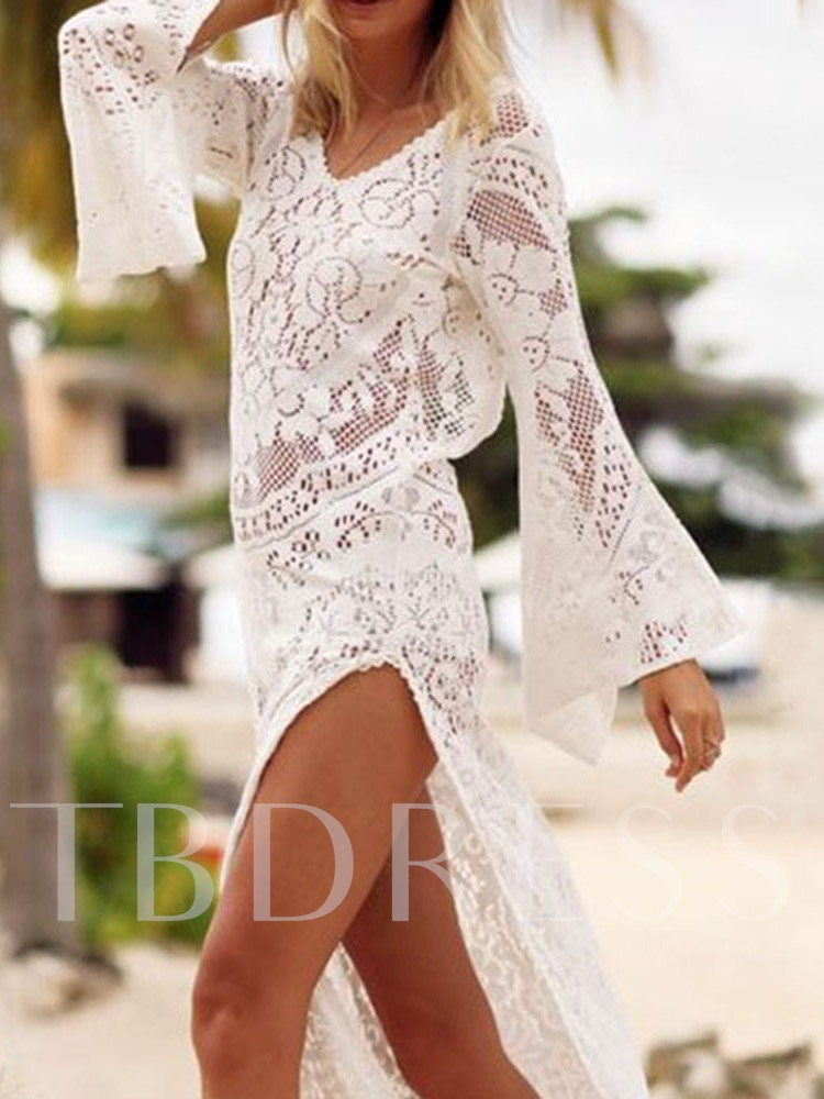 Long Sleeve V-Neck Mid-Calf Split A-Line Lace Women's Dress