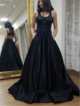 A-Line Scoop Pockets Floor-Length Prom Formal Dress 2020