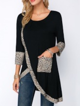 Mid-Length Leopard Three-Quarter Sleeve Loose Women's T-Shirt