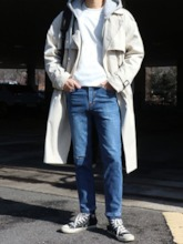Long Plain Notched Lapel Double-Breasted Men's Trench Coat