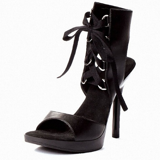 Lace-Up Open Toe Stiletto Heel Platform Sandals