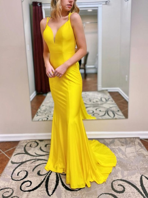 Trumpet Sleeveless Spaghetti Straps Sweep Brush Evening Dress 2020