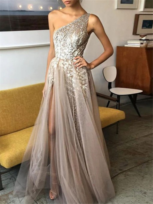 A-Line Floor-Length Sequins One Shoulder Evening Dress 2020