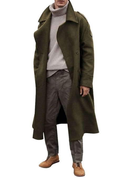 Plain Long Lapel Casual Men's Coat