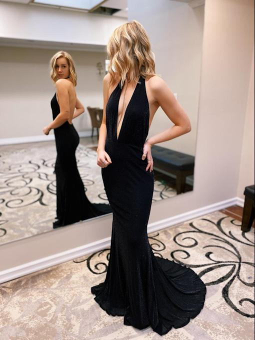 Floor-Length Trumpet Deep V-Neck Halter Sleeveless Evening Dress 2020