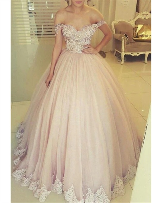 Appliques Off-The-Shoulder Ball Gown Floor-Length Evening Dress 2020