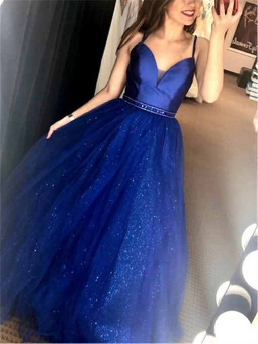 Floor-Length A-Line Beads Straps Evening Prom Dress 2020